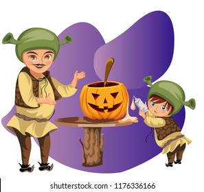 Dad with son making Halloween pumpkin poster. Cartoon father with little sonny dressed shrek costumes and carving mystery gourd vector illustration. Family horror party concept.