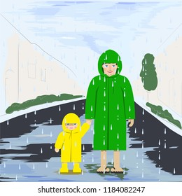 dad and son on a walk in the rain, vector illustration