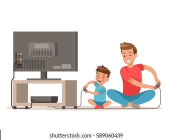 Dad and son playing game. character design.