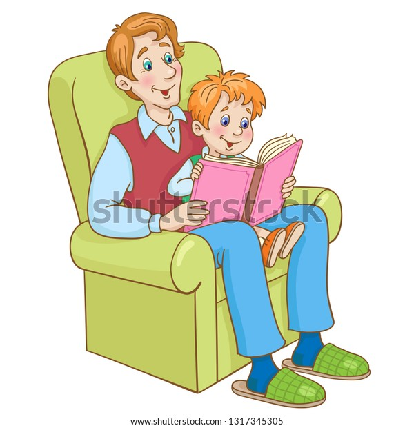 Dad Son Reading Book While Sitting Stock Vector Royalty Free