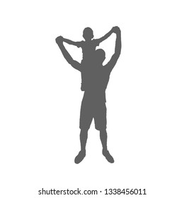 Dad and son silhouette. The boy sits on his father's shoulders and hold both hands.