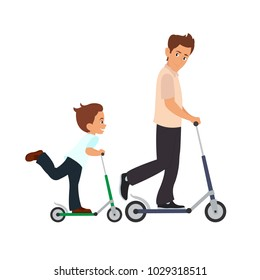 dad and son skate on scooters. vector illustration isolated on white background.