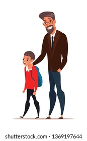 Dad taking son to school vector illustration. Excited first grader cartoon character. Schoolboy with backpack isolated clip art. Father and child walking. Teacher, principal with pupil flat drawing
