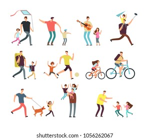 Daddy playing with happy children. Fatherhood and fathers day related people cartoon characters vector isolated. Daddy father with child, family happy, parent and daughter illustration