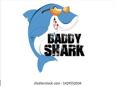 daddy shark t shirt print design slogan with cartoon shark