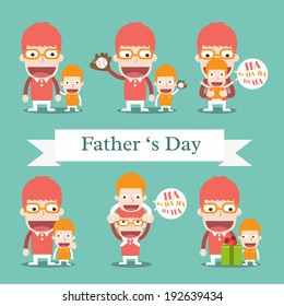 Daddy and Son cartoon in various poses ,Vector cartoon business