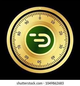 DADI (DADI) cryptocurrency safe lock. Eps10 vector illustration isolated on black background.