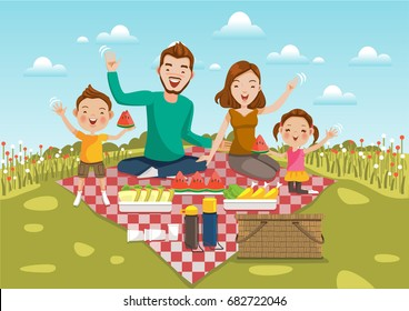 Dad,mom, son,daughter are resting in nature of summer.Sit on a green meadow with  field of flowers and bright sky.Smiling, waving,motion,Happy family on a picnic Holiday travel. Vector illustration.