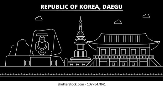 Daegu silhouette skyline. South Korea - Daegu vector city, korean linear architecture, buildings. Daegu travel illustration, outline landmarks. South Korea flat icon, korean line banner