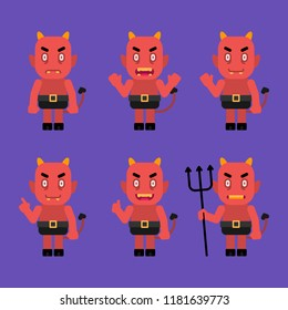 Daemon character in various poses. Halloween character. Vector Illustration.