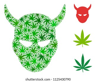 Daemon head composition of weed leaves in various sizes and green hues. Vector flat weed elements are composed into daemon head composition. Herbal vector illustration.