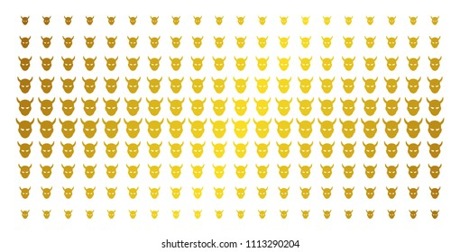 Daemon head icon gold colored halftone pattern. Vector daemon head items are arranged into halftone matrix with inclined golden gradient. Designed for backgrounds, covers,