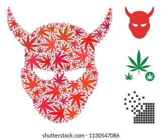 Daemon head mosaic of cannabis leaves in various sizes and color shades. Vector flat cannabis elements are composed into daemon head mosaic. Drugs vector design concept.