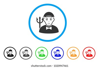 Daemon rounded icon. Style is a flat daemon gray symbol inside light blue circle with black, gray, green, blue, red, orange color versions. Enjoy daemon vector icon. Guy face has cheerful feeling.