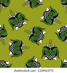 daemon seamless doodle pattern