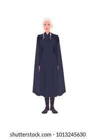 Daenerys Targaryen stormborn, dragon queen dressed in black clothing. Game of Thrones fictional character isolated on white background. Cartoon colorful vector illustration.