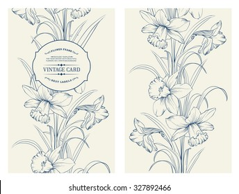 Daffodil flower or narcissus isolated on gray. Floral pattern with narcissus. Vector illustration.
