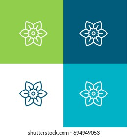 Daffodil green and blue material color minimal icon or logo design