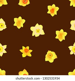 Daffodil Narcissus Flower Seamless Pattern, Floral template for fabric motif design, Available for background, Brown