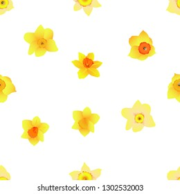 Daffodil Narcissus Flower Seamless Pattern, Floral template for fabric motif design, Available for background, White