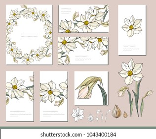 Daffodil set with visitcards and greeting templates