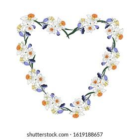 Daffodils, crocuses. Wreath for decor, decoupage. Vector illustration.