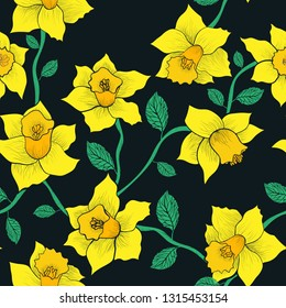 Daffodils - hand drawn flowers,  spring pattern with yellow narcissus and black background