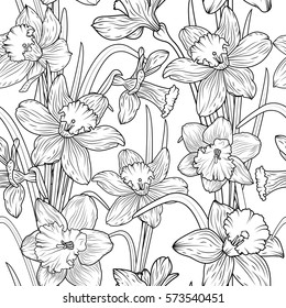 Daffodils narcissus dense outline sketch drawing floral seamless pattern. Spring flowers black and white foliage vector illustration.
