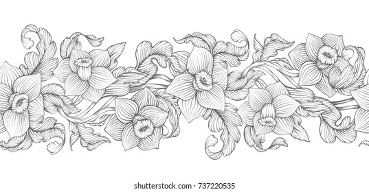 Daffodils narcissus dense outline sketch drawing floral seamless border. Spring flowers black and white foliage vector illustration