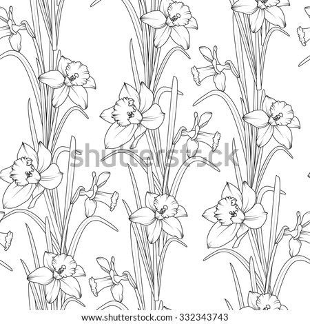 Daffodils narcissus dense seamless pattern spring stock vector daffodils narcissus dense seamless pattern spring flowers black and white vector illustration mightylinksfo