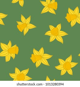 Daffodils pattern. Pattern from daffodils on green background. Vector illustration.