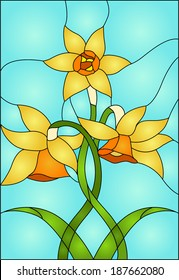 daffodils, spring flower love  Symbol of Wales / Stained glass window