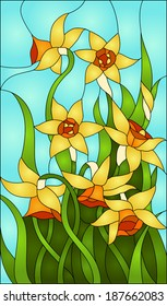 daffodils, spring flower love, Symbol of Wales / Stained glass window