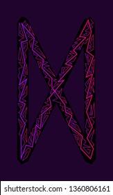 Dagaz Rune. Ancient Scandinavian runes. Runes senior futarka. Magic, ceremonies, religious symbols. Predictions and amulets. Ornament lightning. Dark background, black runes, purple-red ornament Neon