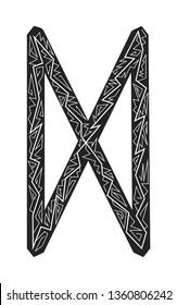 Dagaz Rune. Ancient Scandinavian runes. Runes senior futarka. Magic, ceremonies, religious symbols. Predictions and amulets. Ornament lightning. White background, black runes and white ornament