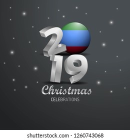 Dagestan Flag 2019 Merry Christmas Typography. New Year Abstract Celebration background