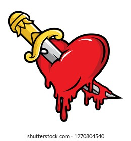 Dagger and Bloody Heart Illustration Vector in Cartoon Style