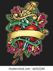 Dagger Heart Tattoo Style Illustration