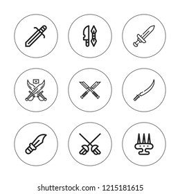 Dagger icon set. collection of 9 outline dagger icons with dagger, sabre, weapon, weapons icons. editable icons.