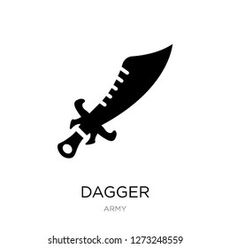 dagger icon vector on white background, dagger trendy filled icons from Army collection, dagger simple element illustration