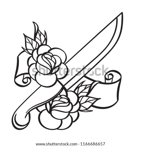 dagger illustration coloring template tattoo stock vector royalty