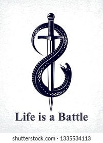 Dagger kills a Snake, defeated Serpent wraps around a sword vector vintage tattoo, Life is a Fight concept, life is no bed of roses, allegorical logo or emblem of ancient symbol.