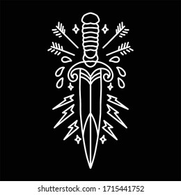 dagger line art vector design