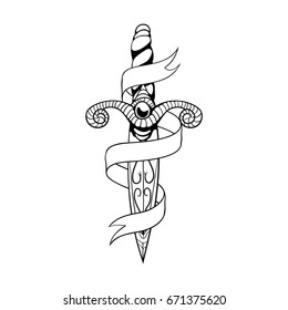 Dagger and ribbon.