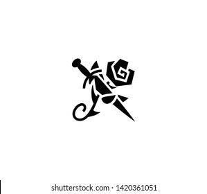 Dagger rose vector isolated flat illustration. Dagger rose icon