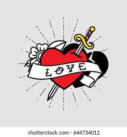 Dagger Through Heart ,Old School Tattoo Style