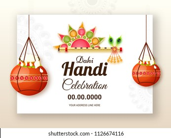 Dahi Handi celebration design decorated with hanging brown pots, beautiful golden flute on white ornamental background.