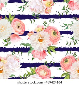Dahlia, ranunculus, rose and peony seamless vector pattern. Navy striped and speckled print.