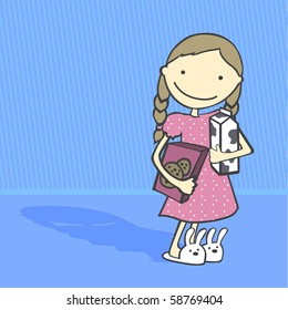 Daily Activities Series. Girl having cookies and milk before going to bed. Cartoon style, vector illustration.