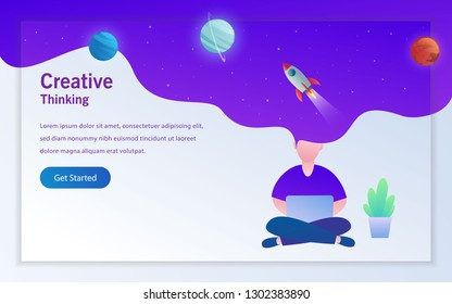 daily activity a man working with laptop with creative idea landing page vector design illustration
